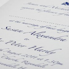 Wedding invitations printed in thermo blue