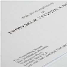 Compliment slips printed in thermo black