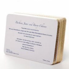 Thermo blue wedding invites on gold gilt edge cards