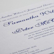 Wedding invitation printed thermography blue