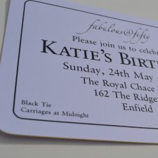 Black thermo printed birthday invitations