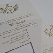 Gold thermo printed wedding invitations
