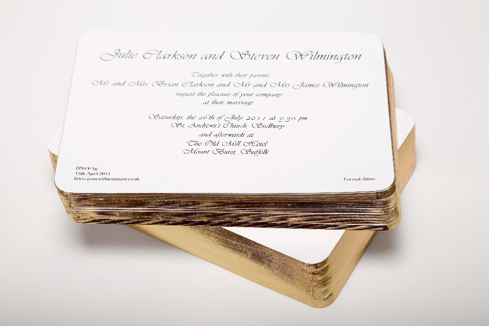 Gilt edge cards thermofast printing cards gold gilt edged invitations printed in black thermo reheart Images