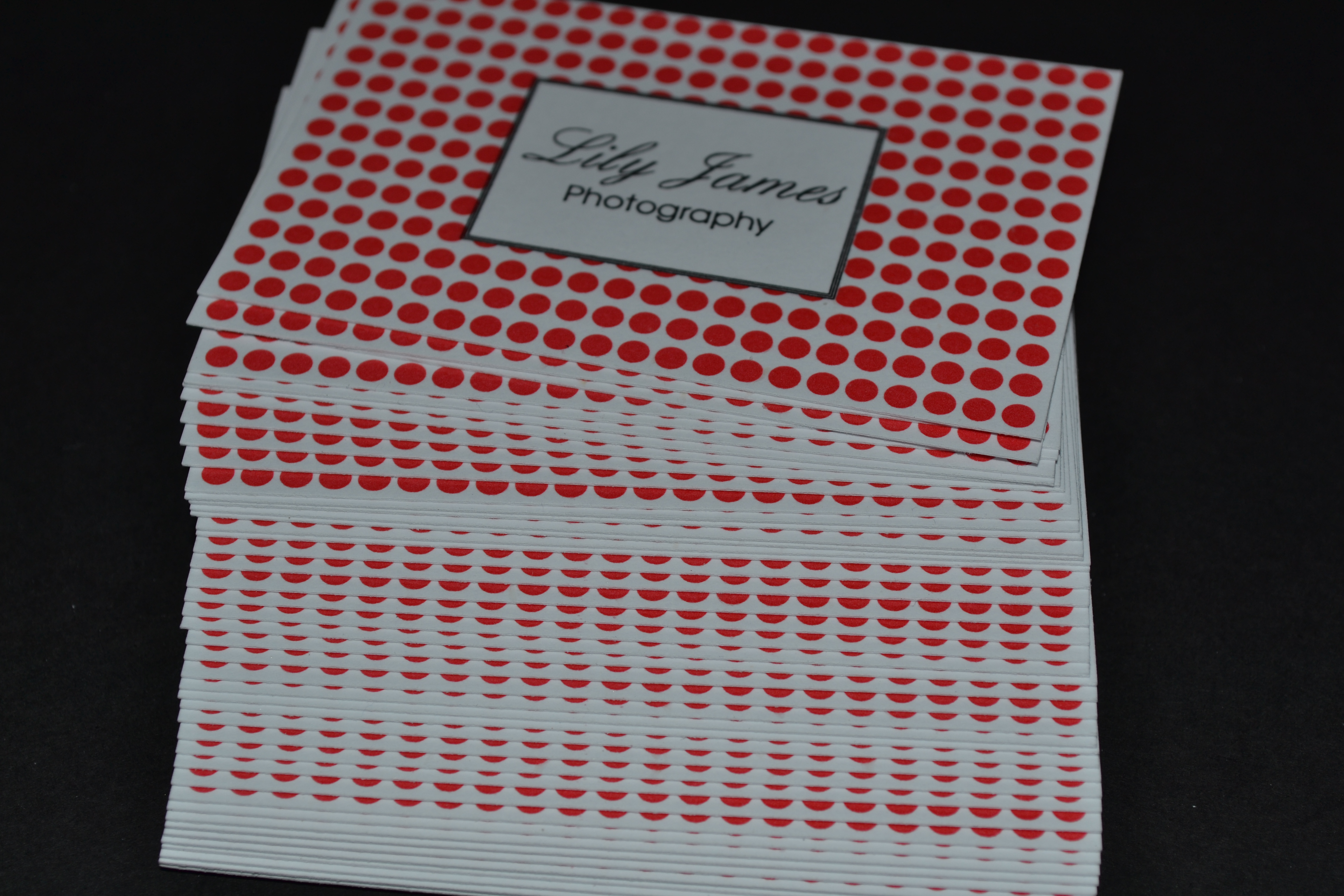 Raised printed business cards qty 250 starting from 5500 thermo printed business cards in red black reheart Choice Image