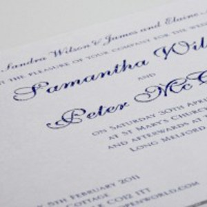 Wedding invitation printed thermo blue