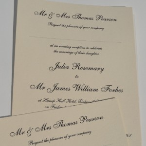 Raised Print single sheet Wedding Invitations