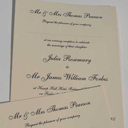 Black Thermo Printed Wedding Invites On Cream Board ...