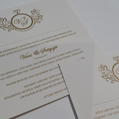 ... Gold Thermo Printed Wedding Invitations ...