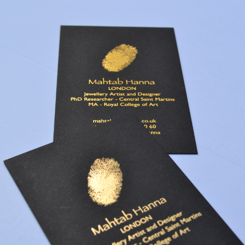 Hot foiling thermofast printing business cards foil printed in gold on black board reheart Choice Image