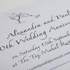 thermography black printed invitation
